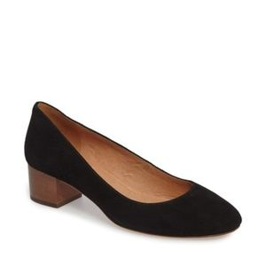 Madewell Black Ella Pump 7 Wood Shoes Short Heel